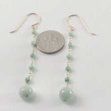 Load image into Gallery viewer, Handcrafted Unique Design 14k Yellow Gold-Filled Jade Ball Drop Hook Earrings
