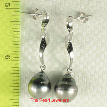 Load image into Gallery viewer, 91T0091-Genuine-Two-Tones-Tahitian-Pearl-Dangle-Stud-Solid-Silver-925-Earrings