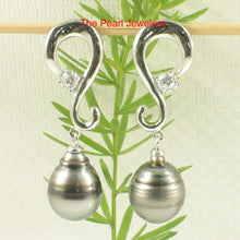 Load image into Gallery viewer, 91T0182-Genuine-Tahitian-Pearl-Silver-925-Dangle-Earrings