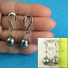 Load image into Gallery viewer, 11-5-mm-tahitian-pearl-silver-925-dangle-stud-earrings