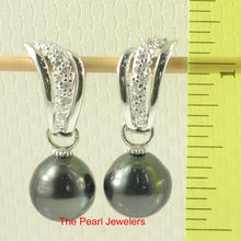 Load image into Gallery viewer, 91T0711-Tahitian-Black-Pearl-Solid-Silver-925-Euro-Back-Dangle-Earrings