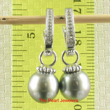Load image into Gallery viewer, 9.6mm Tahitian Pearl; 22 D/VVS1 Solid Silver 925 Euro Back Dangle Earrings