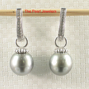 9.6mm Tahitian Pearl; 22 D/VVS1 Solid Silver 925 Euro Back Dangle Earrings