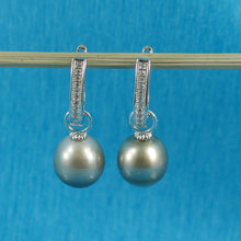 Load image into Gallery viewer, Tahitian Pearl; 22 D/VVS1 Solid Silver 925 Euro Back Dangle Earrings