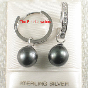 Tahitian Black Pearl Set 20 D/VVS1 Solid Silver 925 C Hoop Dangle Earrings