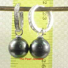 Load image into Gallery viewer, Solid Sterling Silver .925 Hoop Baroque Tahitian Black Pearl Dangle Earrings