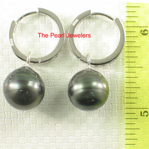 Solid Sterling Silver .925 Hoop Baroque Tahitian Black Pearl Dangle Earrings