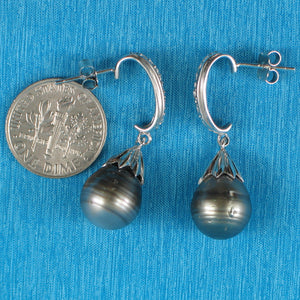 Sterling Silver .925 & Cubic Zirconia Genuine Tahitian Pearl Dangle Earrings