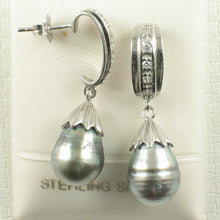 Load image into Gallery viewer, Sterling Silver .925 & Cubic Zirconia Genuine Tahitian Pearl Dangle Earrings