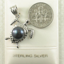 Load image into Gallery viewer, Hawaiian Jewelry Honu Solid Silver 925 Sea Turtle Black Culture Pearl Pendant