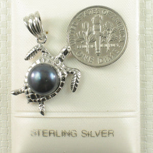 Hawaiian Jewelry Honu Solid Silver 925 Sea Turtle Black Culture Pearl Pendant