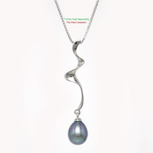 Load image into Gallery viewer, Solid Silver 925 Water Flow Design Pendant Sets 7.5-8mm Black Cultured Pearl