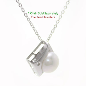 Unique Pendant; 9-10mm Natural White Cultured Pearl & Sterling Silver 925