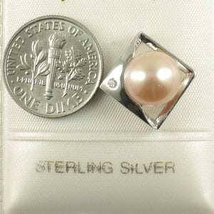 Sterling Silver 925 Unique Pendant Set 9-10mm Natural Pink Cultured Pearl & C.Z