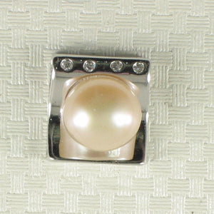 Beautiful Solid Silver 925 Cubic Zirconia & Pale Pink Cultured Pearl Pendant