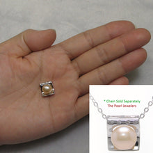 Load image into Gallery viewer, Beautiful Solid Silver 925 Cubic Zirconia & Pale Pink Cultured Pearl Pendant