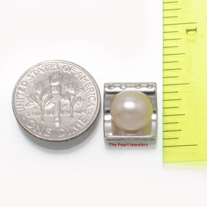 Beautiful Solid Silver 925 Cubic Zirconia & Lavender Cultured Pearl Pendant