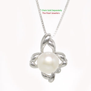 White Cultured Pearl & C.Z Sterling Silver 925 Flower Design Pendants