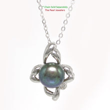 Load image into Gallery viewer, Sterling Silver .925 Flower Design Black Cultured Pearl & C.Z Pendant Necklace