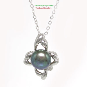 Sterling Silver .925 Flower Design Black Cultured Pearl & C.Z Pendant Necklace
