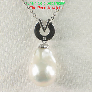 Simple Sterling Silver 925 Stunning Baroque Nucleated Culture Pearl Pendant