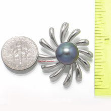 Load image into Gallery viewer, 10-11 mm Black Cultured Pearl Sterling Silver 925 Sun Shape Design Pendants