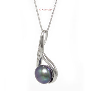 Solid Silver 925 Fish Hook Cubic Zirconia 11mm Black Cultured Pearl Pendant