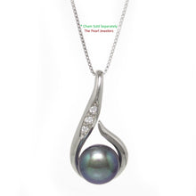 Load image into Gallery viewer, Solid Silver 925 Fish Hook Cubic Zirconia 11mm Black Cultured Pearl Pendant
