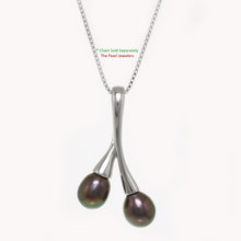 Load image into Gallery viewer, 925 Sterling Silver Twin Cherries Design Peacock Cultured Pearl Pendant