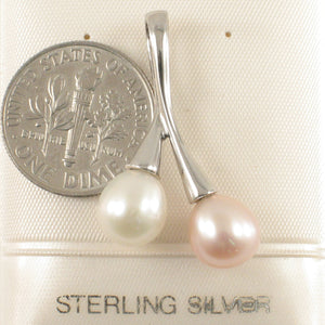 Wonderful Handcrafted Solid Silver 925 White & Pink Twin Cultured Pearls Pendant