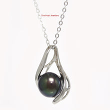 Load image into Gallery viewer, Solid Sterling Silver 925 Set 9-10 mm Black Genuine Cultured Pearl Pendants
