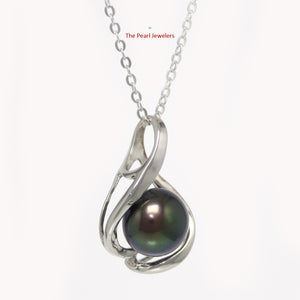 Solid Sterling Silver 925 Set 9-10 mm Black Genuine Cultured Pearl Pendants