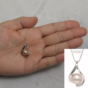 Genuine 9-10mm Natural Pink Cultured Pearl Pendant Solid Sterling Silver 925