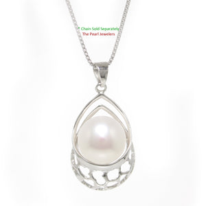 Solid Sterling Silver 925 10-11mm White Freshwater Cultured Pearl Pendant