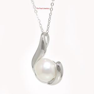 Solid Sterling Silver .925 Tradition Hawaiian Fish Hook White Pearl Pendant