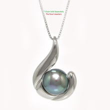 Load image into Gallery viewer, Sterling Silver .925 Tradition Hawaiian Fish Hook Black Cultured Pearl Pendant