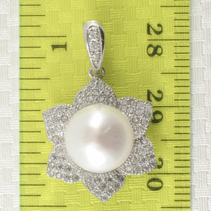 Beautiful Design White Cultured Pearls & C.Z Sterling Silver .925 Pendant