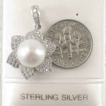 Load image into Gallery viewer, Beautiful Design White Cultured Pearls & C.Z Sterling Silver .925 Pendant
