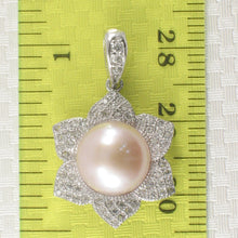 Load image into Gallery viewer, Romantic Pink Cultured Pearls & C.Z Sterling Silver .925 Beautiful Pendant