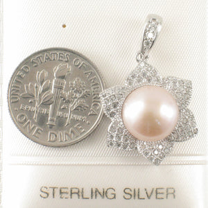 Romantic Pink Cultured Pearls & C.Z Sterling Silver .925 Beautiful Pendant