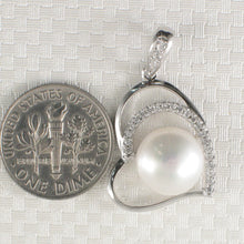 Load image into Gallery viewer, Sterling Silver .925 Open Heart Design White Cultured Pearls & C.Z Pendant