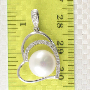 Sterling Silver .925 Open Heart Design White Cultured Pearls & C.Z Pendant