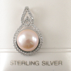 Beautiful 925 Sterling Silver & 57 Cubic Zirconia Pink Cultured Pearl Pendant