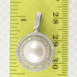 Sterling Silver .925 Beautiful Designs White Cultured Pearls & C.Z Pendant