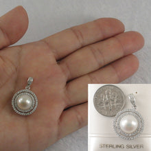 Load image into Gallery viewer, Sterling Silver .925 Beautiful Designs White Cultured Pearls & C.Z Pendant