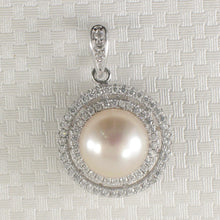 Load image into Gallery viewer, Sterling Silver .925 Beautiful Designs Pink Cultured Pearls & C.Z Pendant