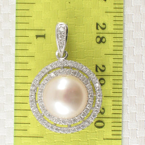 Sterling Silver .925 Beautiful Designs Pink Cultured Pearls & C.Z Pendant