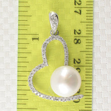 Load image into Gallery viewer, Beautiful White Cultured Pearls & C.Z Sterling Silver 925 Open Heart Pendant