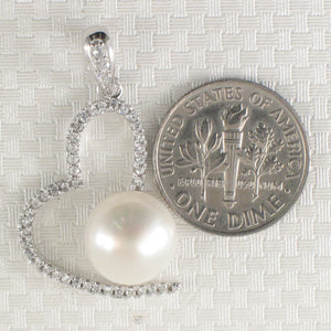 Beautiful White Cultured Pearls & C.Z Sterling Silver 925 Open Heart Pendant