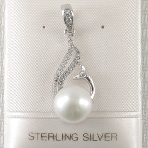 Beautiful White F/W Pearl Crafted Solid Silver 925 & Cubic Zirconia Pendant